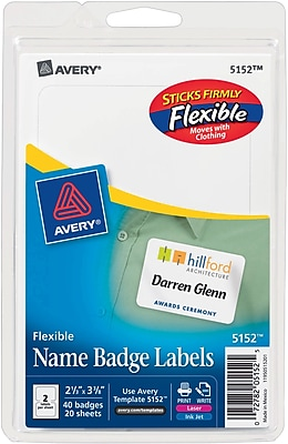 Avery(R) White Adhesive Name Tags 5152, 2 1/3