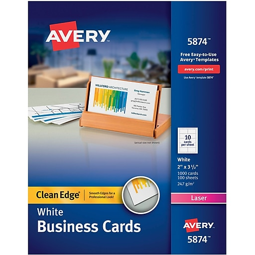 Avery clean edge 05874 two side printable business card white httpsstaples 3ps7is reheart Choice Image