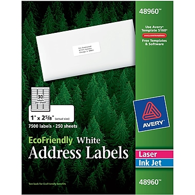 Avery® 48960 EcoFriendly White Inkjet/Laser Address Labels 1