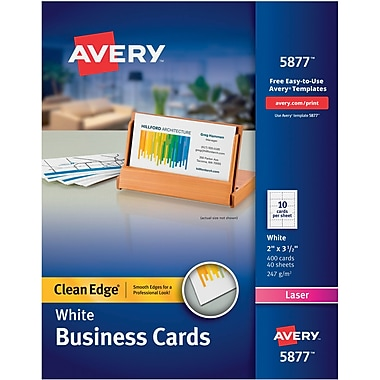 Avery® Clean Edge Two-side Printable Color/Laser Business Cards, White, Uncoated, 400/Pack