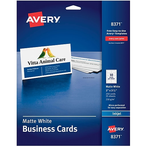 Avery Inkjet Business Cards White 2 X 3 12 250cards Staples