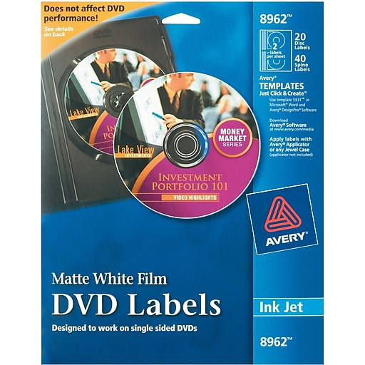 avery 8962 permanent inkjet dvd labels 20 disc 40 spine labels