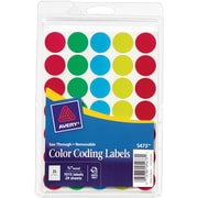 "Round 3/4"" Diameter See-Through Labels, Assorted Colors"