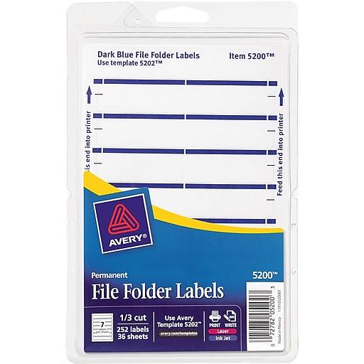 Avery Easy Peel Laser/Inkjet File Folder Labels, 2/3