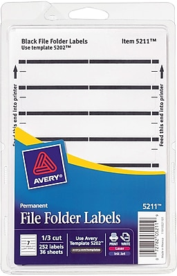 Avery® 5211 Print-or-Write Black File Folder Labels, 252/Pack