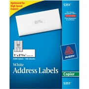 "Avery® 5351 White Copier Address Labels, 1"" x 2-13/16"", 3,300/Box"