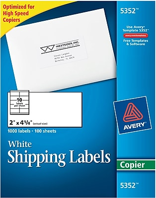 Avery® 5352 White Copier Shipping Labels, 2
