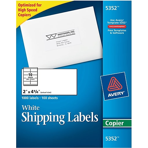 Avery 5352 white copier shipping labels 2 x 4 14 1000box httpsstaples 3ps7is maxwellsz