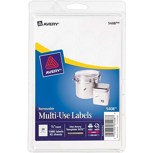 Avery 5408 Print Or Write Multiuse Id Labels 34 Diameter 1008
