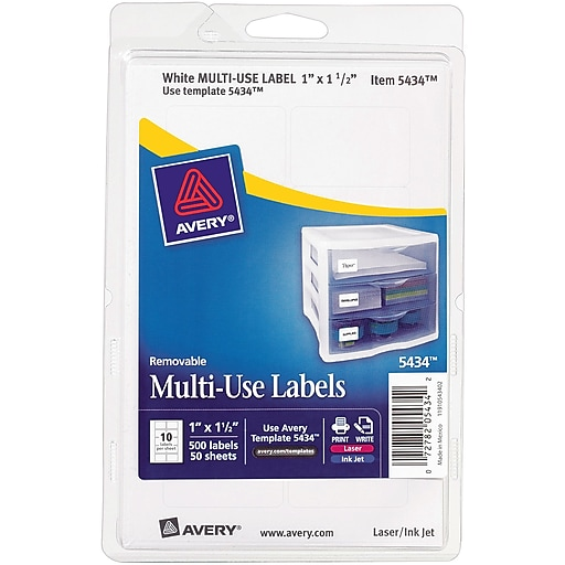 avery 5434 print or write multiuse id labels 1 h x 1 1 2 l 500