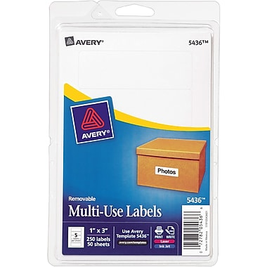 Avery® 5436 Print-or-Write Multiuse ID Labels, 1