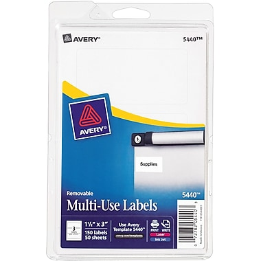 Avery® 5440 Print-or-Write Multiuse ID Labels, 1-1/2