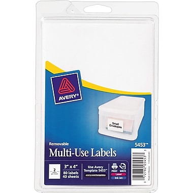 Avery® 5453 Print-or-Write Multiuse ID Labels, 3