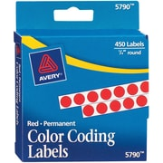 "Avery® 5790 Round 1/4"" Diameter Color Coding Labels, Red, 450/Pack"