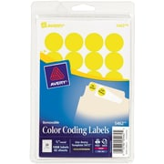 "Avery® Round 3/4"" Diameter Print-and-Write Color Coding Labels, Yellow, 1,008/Pack (13949/5462)"