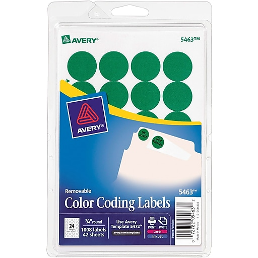 "Avery Easy Peel Laser Color Coding Labels, 3/4"" Dia., Green, 24 Labels/Sheet, 42 Sheets/Pack (5463)"