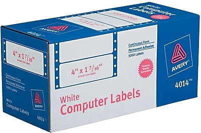 Avery® 4014 White Pin-Fed Computer Labels, 4
