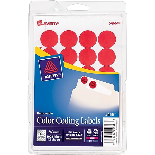 Avery 34 Round Print Write Color Coding Labels Red 1008pack