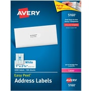 "Avery 5160 Laser Address Labels with Easy Peel, 1"" x 2 5/8"", White, 3,000/Box (05160)"