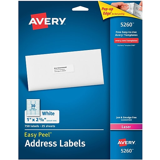 Avery 1 X 2 58 5260 White Laser Address Labels With Easy Peel