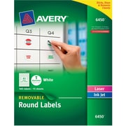"Avery Removable Laser/Inkjet Identification Labels, 1"" Dia., White, 63 Labels/Sheet, 15 Sheets/Pack (6450)"