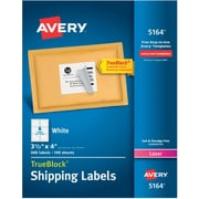 "Avery Laser Shipping Labels with TrueBlock™, 3-1/3"" x 4"", White, 600/Box (5164)"