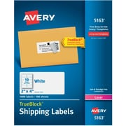 "Avery TrueBlock Laser Shipping Labels, 2"" x 4"", White, 10 Labels/Sheet, 100 Sheets/Box (5163)"