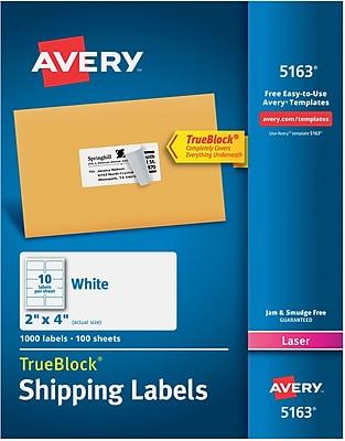 "Avery TrueBlock Laser Shipping Labels, 2"" x 4"", White, 10 Labels/Sheet, 100 Sheets/Box (5163)"