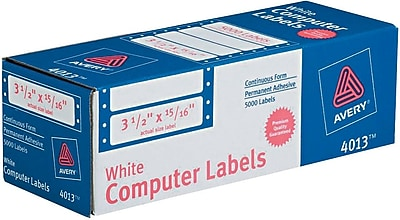 Avery® Pin-Fed Computer Labels, White, 5000/Box (4013)