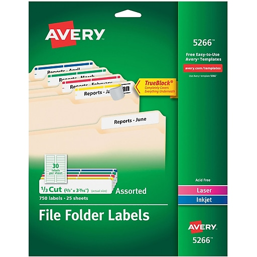 Avery Permanent File Folder Labels With Trueblock Assorted Colors