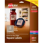 """Avery Print-to-the-Edge Kraft Brown Square Labels, 2"""" x 2"""", Pack of 300 (22846)"""