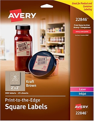 Avery Print-to-the-Edge Kraft Brown Square Labels, 2
