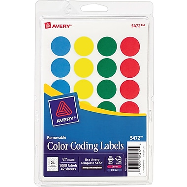 AveryR Round 3 4 Diameter Print And Write Color Coding Labels