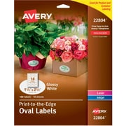 "Avery® Easy Peel Print-to-the-Edge Glossy Oval Labels, True Print, 1-1/2"" x 2-1/2"", Pack of 180 (22804)"