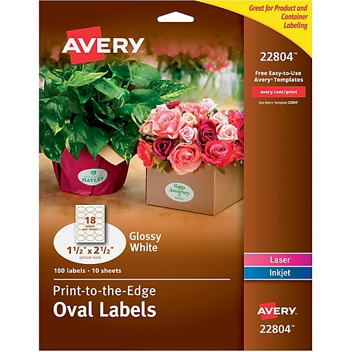 Avery Easy Peel Print To The Edge Glossy Oval Labels True Print 1