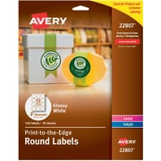 "Avery Laser/Inkjet Round Easy Peel, 2"" Diameter, Glossy White, 120/Pack (22807)"