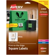 "Avery Easy Peel Print-to-the-Edge White Square Labels, 2"" x 2"", Pack of 300 (22806)"