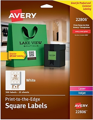 Avery Easy Peel Print-to-the-Edge White Square Labels, 2