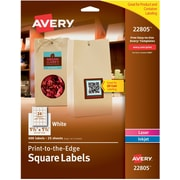 "Avery Easy Peel Print-to-the-Edge White Square Labels, 1-1/2"" x 1-1/2"", Pack of 600 (22805)"