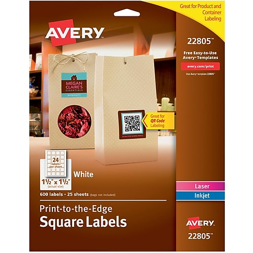 avery 22805 white laserinkjet specialty square shaped labels with trueblock 1