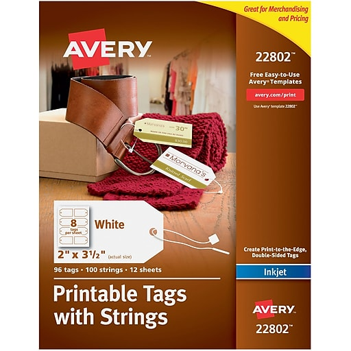 Avery Printable Tags With Strings 2 X 3 12 Pack Of 96 22802