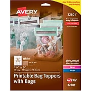 "Avery Printable Bag Toppers with Bags, 1-3/4"" x 5"", Pack of 40 (22801)"