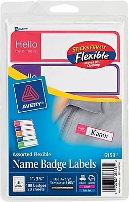 Avery® Mini Flexible Print-or-Write Name Tag Labels, Assorted Neon Colors, 1