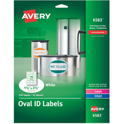 "Avery® 6583 Multipurpose White Oval Labels, Permanent, 1-1/2"" x 2-1/2"",  270/Pack"