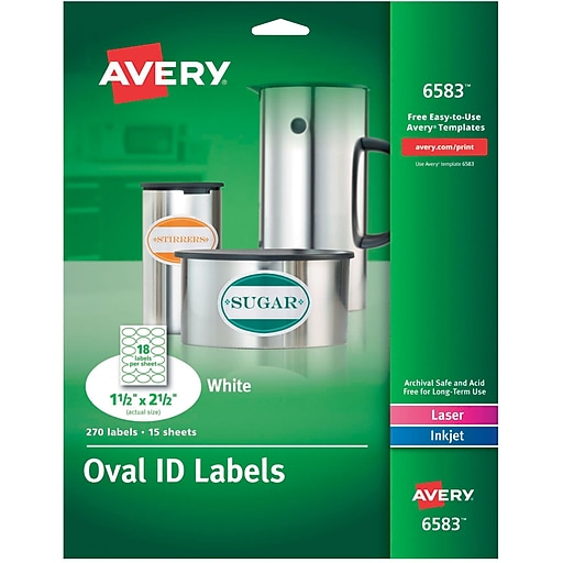 Avery 6583 Multipurpose White Oval Labels Permanent 1 12 X 2 1