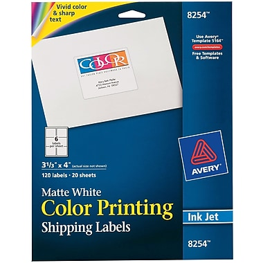 Avery® 8254 Color Printing Matte White Inkjet Shipping Labels, 3-1/3