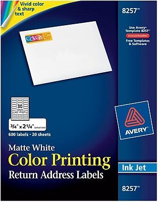Avery® 8257 Color Printing Matte White Inkjet Return Address Labels, 3/4