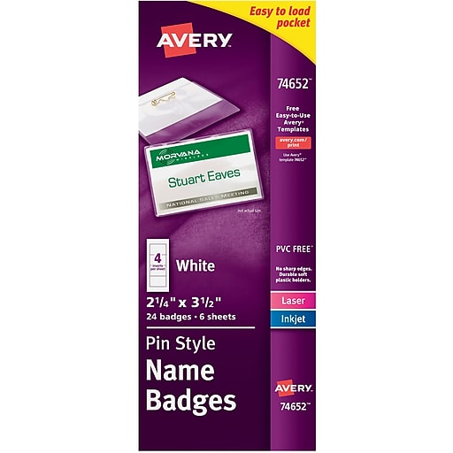Avery pin style white name tags with flexible holder 74652 2 14 httpsstaples 3ps7is saigontimesfo