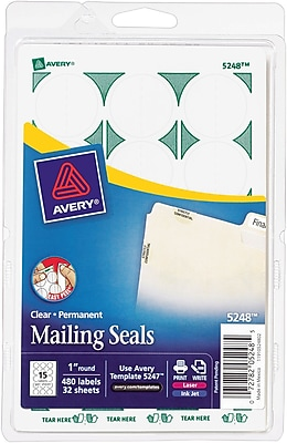 Avery® 5248 Print-or-Write Clear Mailing Seals, 1