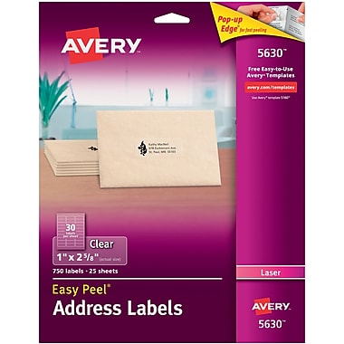 Avery® 5630 Clear Laser Address Labels with Easy Peel®, 1